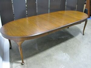 "1960's Kindel Mahogany Queen Anne Style Dining Table & Three Leaves; 114"", Mint"