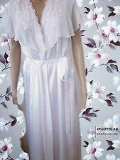 "💋 Vintage dressing gown/robe - ""Park Avenue"" - white w applique detail - Small"
