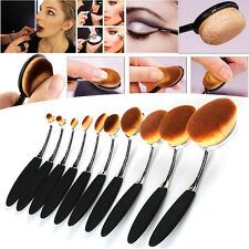 10PCS Toothbrush Elite Oval Multipurpose Makeup Brushes Set Silver + Black