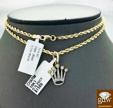 Real 10k Yellow Gold and Crown Design Charm/Pendant with 20 Inches Rope Chain.