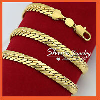 9K GOLD FILLED MENS 10MM FLAT SNAKE FOXTAIL ROMBO LINK CHAIN SOLID LONG NECKLACE