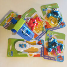 New Sesame Street Beginnings Infant Baby Starter Set Rattle~Cup~2 Teethers~Brush