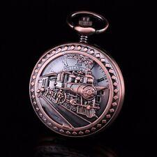Copper Tone Half Hunter Railroad Train Theme Skeleton Wind Up Pocket Watch Fob