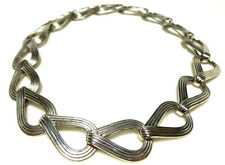 Old Crest Sterling Silver Heavy Deco Style Womens Chain Collar Necklace 16'