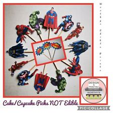Marvel CUPCAKE TOPPERS SET OF 12 BIRTHDAY PARTY CAKE PICKS (SINGLE SIDED)