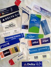 18 Airline Baggage Tags Jet Plane Aircraft Aviation Luggage IDs w/ 2 Rare Song