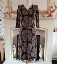 SOUTH brown and beige mock wrap midi shift dress size 10 EUR 38 Stretch