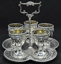 Antique English Sterling Silver Egg Cup Cruet Service for Five with Lion Heads