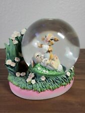 Miss Bunny & Thumper Disney Store Snow Globe 2005 (RARE) Chipped Grass pieces