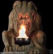 Bronze Gargoyle With Flame - Gothic Lighting Statue Decoration & Halloween Prop