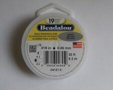 Beadalon 19 Strand .018 diameter 30 foot spool Bright Beading Wire Free Shipping