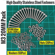 Metric M3 20MM Stainless Steel Allen Bolts (20)+Washers(50)+Nuts(20)
