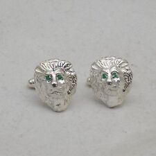 STERLING  SILVER LION MASK CUFFLINKS SET WITH EMERALD EYES