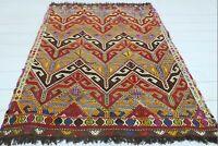 """Anatolia Fethiye Nomads Small Kilim, Doormat, Bedroom Rug 42""""x50"""" Carpet 3x5 Rug"""