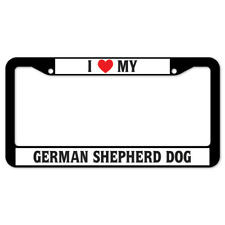 SignMission I Love My German Shepherd Dog Plastic License Plate Frame