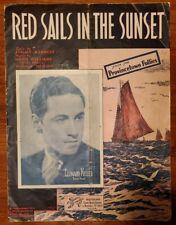 "VINTAGE 1935 SHEET MUSIC ""RED SAILS IN THE SUNSET"" PROVINCETOWN FOLLIES + BONUS"