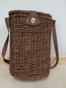 Wicker Wine Bottle Carrier - Picnic Basket -2 Bottles (Hol)