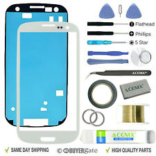 SAMSUNG GALAXY S3 White Replacement Screen Front Glass lens Repair Kit+ 2mm Tape