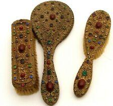 Antique Vanity Hand Mirror &2 Brush Heavily Jeweled Filigree Brass French Ormolu