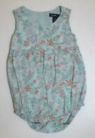 INFANT GIRLS BABY GAP GREEN WHITE & ORANGE FLORAL BUBBLE OUTFIT SIZE 0-3 MONTHS