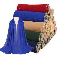 Women Ladies Chiffon Plain Scarf Muslim Head Wrap Shawl Scarves Rhinestone Chain