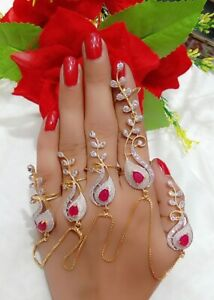 Indian Bollywood Wedding Red Sliver Gold Plated Jewelry Bracelet Set With Ring
