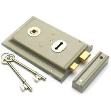 Grey Rim Sash Lock 150 x 102mm Door Sashlock Gates Sheds Doors + 2 Keys