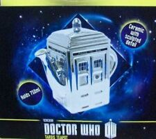 "DR WHO DOCTOR TARDIS 50th ANNIVERSARY CHROME CERAMIC TEAPOT LARGE 7X7"" 25 OUNCES"