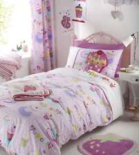 Girls Single Pink Cup Cakes Duvet Cover Set Embroidered and Applique Cupcakes