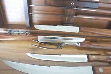 "Vintage Robeson Shur-Edge ""Frozen Heat"" Carving Set 6 Steak knives Inlaid Box"