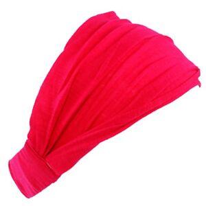 Women Female Solid Color Head Wrap Cotton Wide Hair Band Headband Elastic Turban