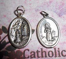 Our Lady of Lourdes - Saint. Bernadette - Italian Silver tone OX 1 inch Medal