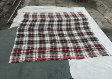 """Vintage Light Weight Wool Plaid Striped Blanket 74"""" x 90"""" Condition Issue"""