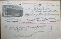 Wall Paper & Stationery 1890 Letterhead/Billhead - Carey Bros. & Grevemeyer