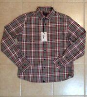 UNTUCKit Rousseau Men's Long Sleeve Button Front Pink Gray Plaid Shirt New