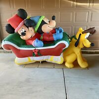Very Rare 8' Gemmy Airblown Inflatable Mickey Minnie Pluto Sleigh Disney Holiday