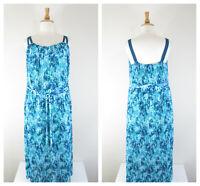 Lane Bryant Plus Sz Turquoise Blue Floral Accordian Maxi Dress Size 18 20 Belted