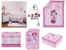 Baby Girl Pink Disney Minnie Mouse 6 PC Crib Bedding Musical Mobile Set Bundle