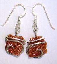 19.39ct Custom Forged Sterling Goldstone Shard Art Earrings