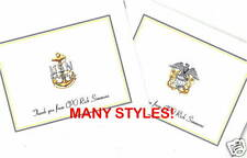 12 Custom Thank You/Note Cards/Military/Anchor/Navy