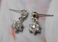 18K GP White Gold AAA CZ Cubic Zirconia Flora Dorp Earrings