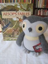 NWTs Kohls Cares Aesops Fables plush owl stuffed animal 11 inches gray & book