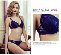 Black Satin Flower Lace Push Up Bra/Briefs Set - Lingerie Set - Ladies Underwear