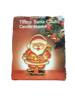 Tiffany Stained Glass Cast Iron Santa Claus Christmas Candle Holder Box EUC VTG