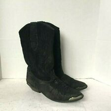 Vintage Zodiac Women Black Western Cowboy Boots  8 M  Leather Silver Accent 8 M