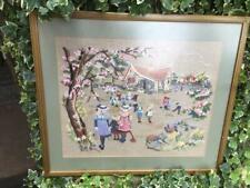 Vintage Framed Cross Stitch Victorian Children Playing School House Playground