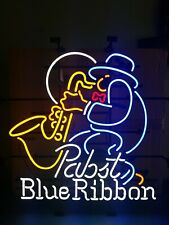 Pabst beer saxophone jazz player neon light up sign music game room bar Pbr new