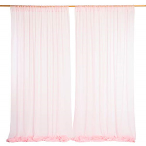Ling's moment Wrinkle-Free 50% Transparency Pink Backdrop Curtains 10ft x 10ft