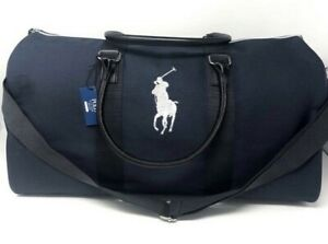 POLO Ralph Lauren DUFFLE Gym CARRY-ON Weekender TRAVEL Bag NAVY BLUE NWT