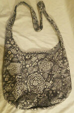 Thirty-One Inside Out Reversible Hobo Crossbody Gray Floral White Dots Bag Purse